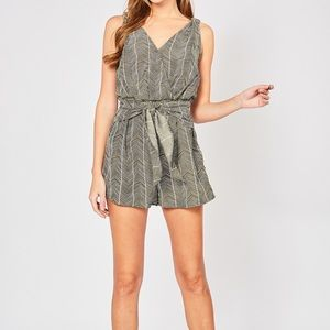 Abstract printed V Neck Romper